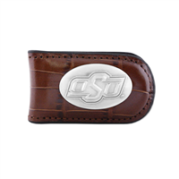 Oklahoma State Crocodile Leather Money Clip