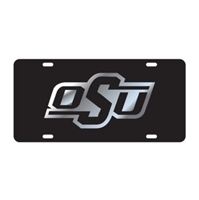 Oklahoma State Mirrored License Plate-Black