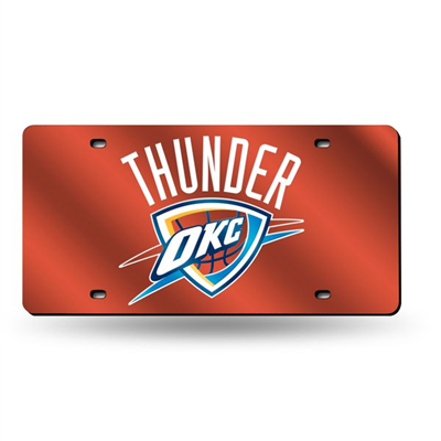Oklahoma City Thunder License Plate Mirrored Logo Orange
