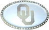 Oklahoma Sooners Silver Oval Auto Emblem  with Rhinestones