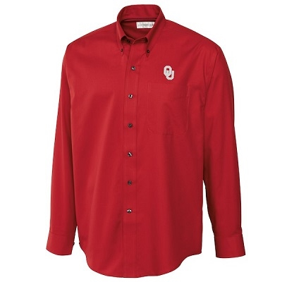 Men's Cutter & Buck Crimson Oklahoma Sooners Epic Easy Care Fine Twill Long Sleeve Button-Down Shirt