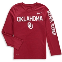 Youth Nike Brand Crimson Oklahoma Sooners Legend Long Sleeve Performance T-Shirt