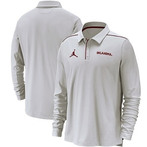 Oklahoma Sooners Jordan Brand Team Issue UV Long Sleeve Polo - White