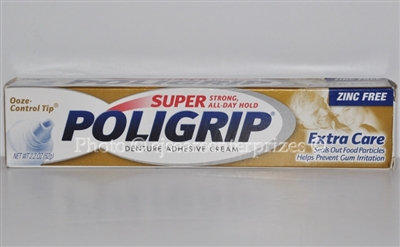 Super PoliGrip Denture Adhesive Cream, Extra Care 2.2 oz (62 g)