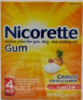 Nicorette Stop Smoking Aid Gum, 4mg, Fruit Chill - 100 CT
