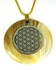 BBAP-SFOL   Brown Banded Agate Sacred Geometry with Silver Flower of Life Stone Pendant