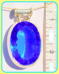 astrological blue quartz pendant