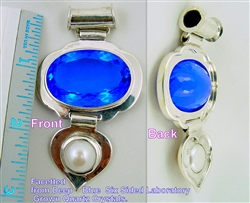 blue quartz and pearl pendant