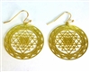 Shree Yantra Cut Out Design 18K Gold Plated Earrings