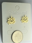 ER-GSST12-LF Stainless Steel Gold Plated Lotus Flower Earrings