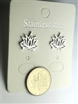 ER-SST12-LF Stainless Steel Lotus Flower Earrings