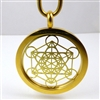 GGMETP-02 Gold Plated Stainless Steel Metatron Pendant with Chain