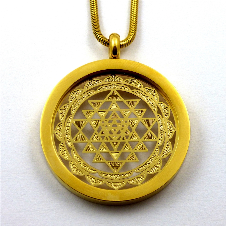 Gold plated stainless steel shree yantra pendant with chain retail aloadofball Image collections