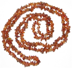 hessonite garnet chip necklace 35 inches