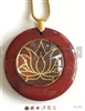 RJDP-GLF Red Jasper Glass Dome Stone Pendants - Gold Plated Lotus Flower