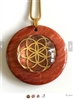 RJDP-GSOL Red Jasper Glass Dome Stone Pendants - Gold Plated Seed of Life