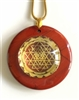 RJDP-GSY Red Jasper Glass Dome Stone Pendants - Gold Plated Shree Yantra