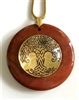 RJDP-GTOL Red Jasper Glass Dome Stone Pendants - Gold Plated Tree of Life