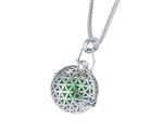Silver Flower of Life Sacred Geometry Aroma-Therapy Ball Pendant