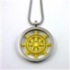 SGBWP-32 All Silver and Gold Plated Stainless Steel Buddhist Wheel Of Life Pendant with Chain
