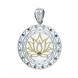 SGLFP-Gem-01 Silver and Gold Plated Stainless Steel Lotus Flower Pendant with Multi-colored Gemstones