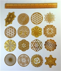 18K gold plated small Sacred Geometry grids