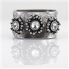 Silver Vintage-Antique-Look Cuff Bracelet with Crystal Flowers