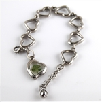 Stainless Steel Four Leaf Clover Heart Charm Bracelet