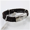 Stainless Steel Bracelet Brown Braided Leather
