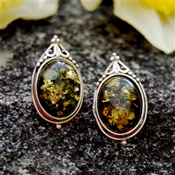 Green Amber Vintage Style Sterling Silver Post Earrings.