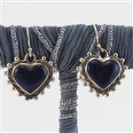 Lapis Lazuli Sterling Silver Heart Dangly Earrings