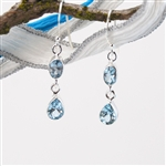 December's Birthstone Blue Topaz in Sterling Silver Drop Earrings