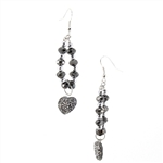 Smokey Black Crystal Bead Heart Drop Earrings