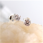White Cubic Zirconia Post Earrings 3 mm