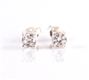 White Cubic Zirconia Post Earrings 8mm