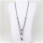 Silver Bead Crystal Ring Multiple Chain Necklace