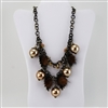 Champagne Bead Crystal Faux Fur Brass Bib Necklace