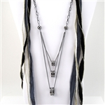 Smoky Silver Three Ring Crystal Necklace