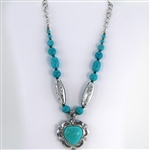 Turquoise Heart Pendant Necklace with Silver Beads