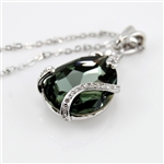 Green Swarovski Teardrop Pendant Rhodium Necklace