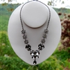 "Oxidized Silver Smoky Crystal Flower ""Y"" Necklace"