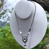 "Oxidized Silver Crystal Teardrop ""Y"" Necklace"