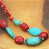 Turquoise Red Coral Beaded Necklace