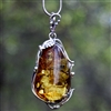 Green Baltic Amber in Sterling Silver Pendant