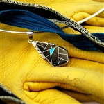Black Onyx and Opal Geometric Teardrop Sterling Silver Pendant