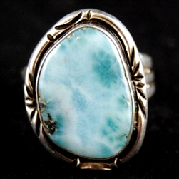 Larimar Sterling Silver Ring Western Style