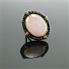 Rose Quartz, Black Onyx and Sterling Silver Ring