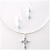 Blue Topaz and Sterling Silver Cross Pendant/Earring Set