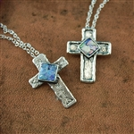 Handmade cross necklace featuring ancient Roman Glass.