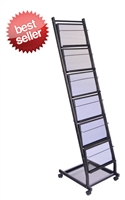 6 Shelf  Mobile Literature Display Rack - Small